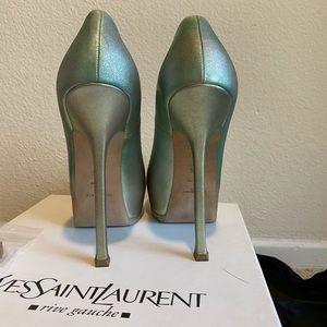 YSL Yves Saint Laurent TRIBTOO Pump 38.5 Goldmet